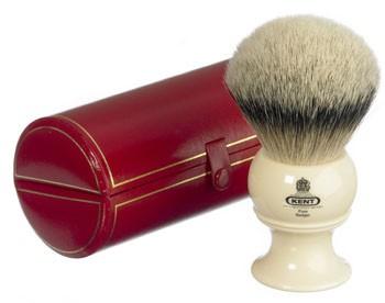 Kent Rasierpinsel BK12 King-Size mit Silberspitz Dachshaar und hellem Griff