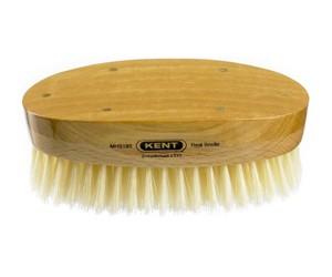 Kent Haarbürste MHS18S handgemacht, oval, mit weichen weißen Naturborsten