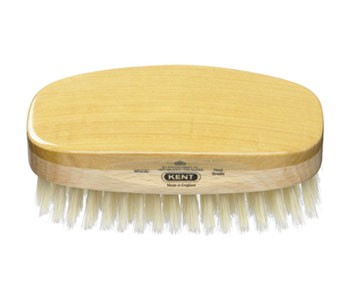 Kent Haarbürste MS23D handbearbeitet, rechteckig, mit weißen weichen Naturborsten