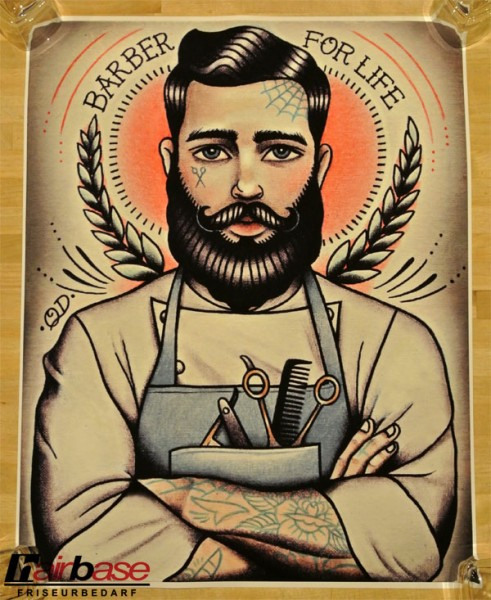 Parlor Tattoo Print - Motiv: Barber For Life - 33x42cm
